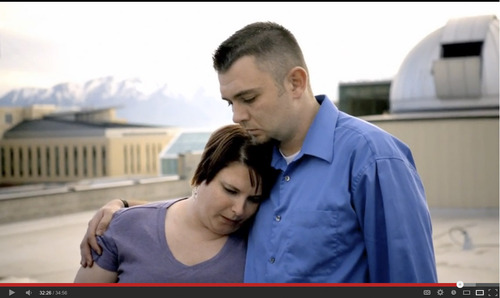 "| Courtesy Megan O'Dell, left, and Reggie Shaw embrace in a scene from the short film, ""From One Second to the Next,"" a documentary on YouTube that profiles families affected by car accidents involving texting. Shaw was texting while driving in 2009 near Logan when he caused an accident that killed two men, including O'Dell's father."
