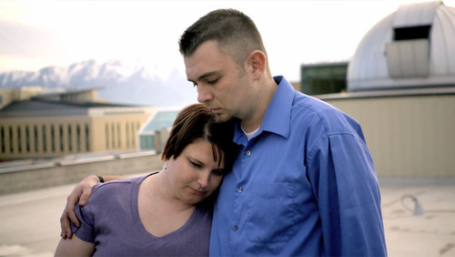 "Megan O'Dell, left, and Reggie Shaw in a scene from the 30-minute documentary, ""From One Second to the Next,"" which profiles Shaw's Logan accident in 2006 that killed two Cache County men. Shaw was texting while driving when the accident was occured, and the incident was one of four profiled for the documentary, directed by German filmmaker Werner Herzog. Courtesy photo"