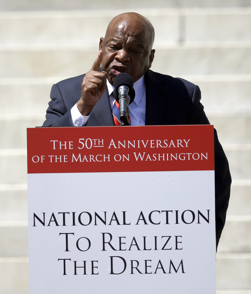 Rep. John Lewis, D-Ga., speaks at a rally to commemorate the 50th anniversary of the 1963 March on Washington on the steps of the Lincoln Memorial on Saturday, Aug. 24, 2013, in Washington. (AP Photo/Carolyn Kaster)