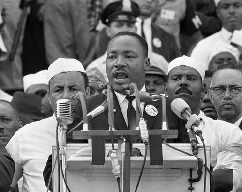 "FILE- In this Aug. 28, 1963, black-and-white file photo Dr. Martin Luther King Jr., head of the Southern Christian Leadership Conference, addresses marchers during his ""I Have a Dream"" speech at the Lincoln Memorial in Washington. NBC News says it will rebroadcast a 1963 ""Meet the Press"" interview with Martin Luther King Jr. in honor of the March on Washington's 50th anniversary next week. King appeared on the news program three days before his landmark ""I Have a Dream"" speech at the civil rights march. (AP Photo/File)"