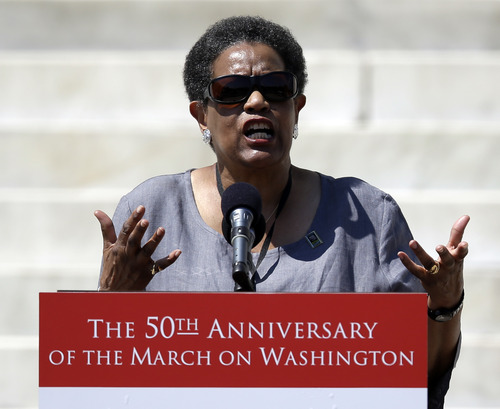 Myrlie Evers-Williams, widow of Medgar Evans, speaks at a rally to commemorate the 50th anniversary of the 1963 March on Washington on the steps of the Lincoln Memorial on Saturday, Aug. 24, 2013, in Washington. (AP Photo/Carolyn Kaster)
