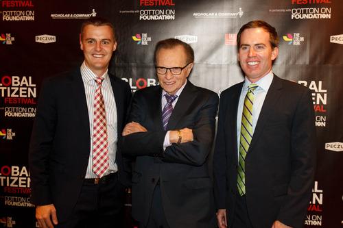 Trent Nelson  |  The Salt Lake Tribune Hugh Evans, Larry King and Nate Hurst at Utah's Night for Global Citizens with Larry King, Saturday, August 24, 2013, in Salt Lake City.