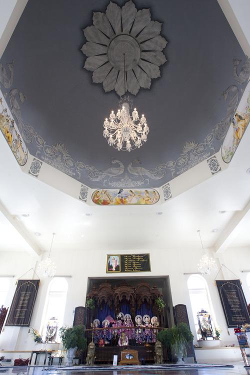 Steve Griffin | The Salt Lake Tribune A beautiful chandelier adorns this worship space inside the Sri Sri Radha Krishna Temple in Spanish Fork on Thursday, Aug. 15, 2013.
