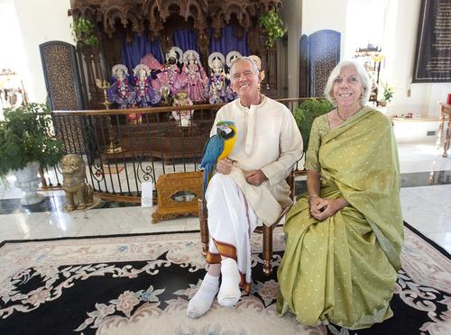 Steve Griffin | The Salt Lake Tribune Temple priest Caru Das and his wife, Vai Warden, inside the Sri Sri Radha Krishna Temple in Spanish Fork on Thursday, Aug. 15, 2013.