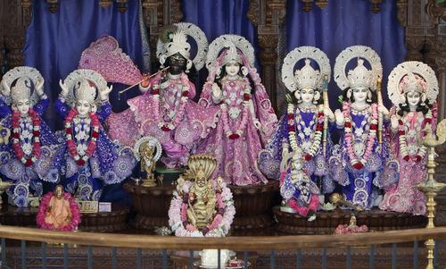 "Steve Griffin | The Salt Lake Tribune Deities adorn the altar inside the Sri Sri Radha Krishna Temple in Spanish Fork on Thursday, Aug. 15, 2013. ""Deities are not idols,"" explains temple worker Collin Sine. ""They are God's incarnation of himself."""