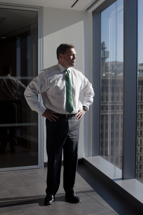 Jim McAuley | The Salt Lake Tribune  David Lang, head of the Salt Lake City Goldman Sachs office, poses for a portrait at the Goldman Sachs building in downtown Salt Lake City on Monday, Aug. 19, 2013. Many of the company's new hires will be graduates of Brigham Young University and the University of Utah. BYU provides more graduates to Goldman than any other university in the U.S. The U. is in the top five.