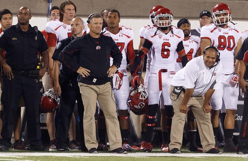 Trent Nelson  |  The Salt Lake Tribune Utah coach Kyle Whittingham watches a last second field goal miss that led to an overtime loss as Utah State hosts the University of Utah, college football in Logan, Utah, Friday, September 7, 2012.