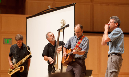 Trent Nelson  |  The Salt Lake Tribune Phil Triolo, Tom Stillinger, Steve Johnston and Howard Horwitz perform at a memorial for Brooke Hopkins, Sunday, August 25, 2013, in Salt Lake City.