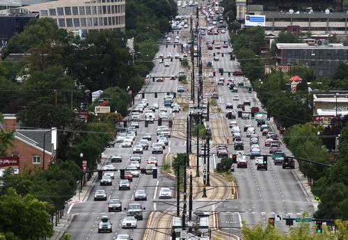 Rick Egan  | The Salt Lake Tribune   Traffic on 400 South in Salt Lake City, Monday, August 26, 2013.