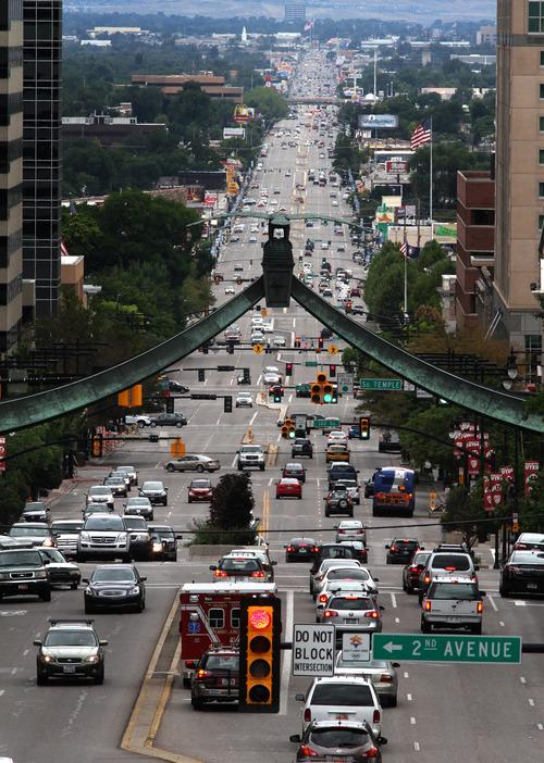 Rick Egan  | The Salt Lake Tribune   Traffic on State Street in Salt Lake City, Monday, August 26, 2013.