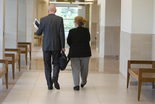 Paul Fraughton  |   The Salt Lake Tribune Former justice court Judge Virginia Ward leaves the courthouse with her attorney, Earl Xaiz, after changing her plea to guilty in the Tooele County courtroom of Judge Robert Adkins. Tuesday, August 27, 2013