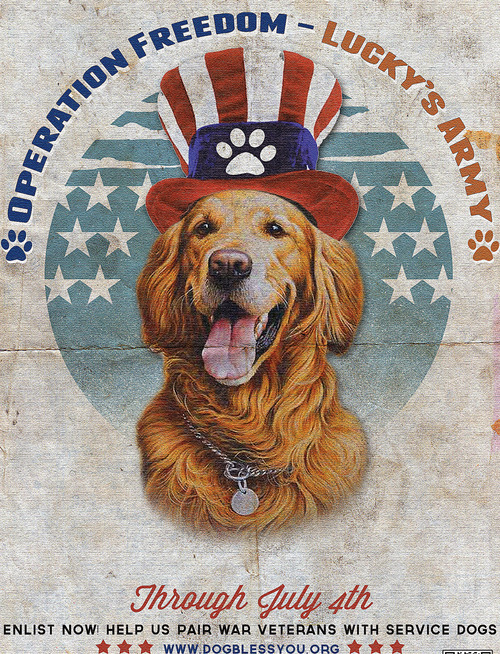 This illustration provided by Explore.org, shows a poster featuring philanthropist Charlie Annenberg's golden retriever, Lucky. Since 2011, the dog war poster has been the unofficial symbol for the Dog Bless You campaign providing companion and service dogs to returning soldiers who suffer from post-traumatic stress disorder. (AP Photo/Explore.org)