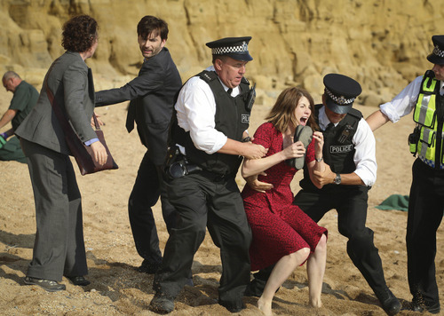 "Detective Sergeant Ellie Miller (Olivia Colman), Detective Inspector Alec Hardy (David Tennant) and Beth Latimer (Jodie Whittaker) in ""Broadchurch"" on BBC America. Courtesy photo"