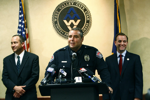 "Chris Detrick  |  The Salt Lake Tribune West Valley City Police Chief Lee Russo speaks during a press conference at West Valley City Hall Tuesday August 27, 2013. ""I saw this as an opportunity that I was well-matched for,"" Lee Russo said at a news conference Tuesday, announcing his selection. At left is West Valley City Manager Wayne Pyle. At right is West Valley City Mayor Mike Winder."
