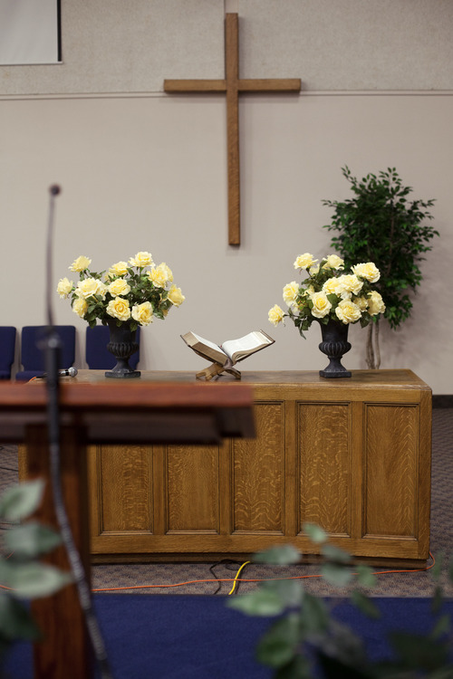 Jim McAuley | The Salt Lake Tribune The lectern and altar at Midvalley Bible Church after Ken Hornok delivered his last sermon on Sunday, Aug. 25, 2013, in Bluffdale, Utah. Hornok served as pastor for 39 years.
