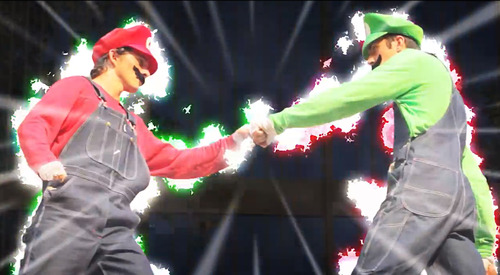 In this screenshot, Christian Russell, left, and Ronnie Shalvis portray Mario and Luigi in a YouTube video produced by Warialasky.