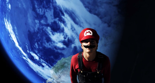 In this screenshot, Christian Russell portrays Mario in a YouTube video produced by Warialasky.