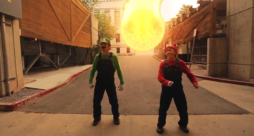 In this screenshot, Ronnie Shalvis, left, and Christian Russell portray Luigi and Mario in a YouTube video produced by Warialasky.