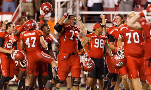 Trent Nelson  |  The Salt Lake Tribune Utah players celebrate the win as the University of Utah hosts Utah State, college football Thursday, August 29, 2013 at Rice-Eccles Stadium in Salt Lake City.