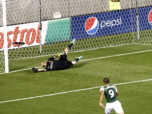Chris Detrick  |  The Salt Lake Tribune Real Salt Lake goalkeeper Nick Rimando (18) can't make a save as Portland Timbers forward/midfielder Darlington Nagbe (6) scores a goal during the first half of the game at Rio Tinto Stadium Friday August 30, 2013.