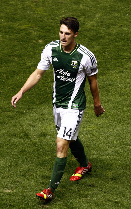 Chris Detrick  |  The Salt Lake Tribune Portland Timbers midfielder Ben Zemanski (14) walks off of the field after getting a red card during the first half of the game at Rio Tinto Stadium Friday August 30, 2013.