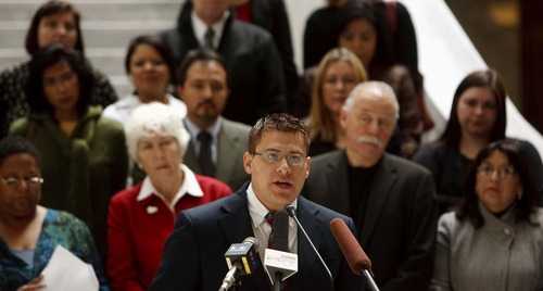 Trent Nelson  |  The Salt Lake Tribune Aaron Tarin, an attorney, speaks at a press conference seeking immigration reform. Several local organizations came together under the banner of the Utah Immigrant and Refugee Intergration Coalition to announce their agenda Tuesday at the State Capitol in Salt Lake City.
