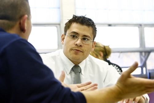 Aaron Tarin is a law student at the University of Utah.  He volunteers at the Legal Clinic at the Gudalupe School in Salt Lake City, UT.  The clinic offers direction for those who otherwise might not have access to legal information. Photo by Danny Chan La 10-30-2007