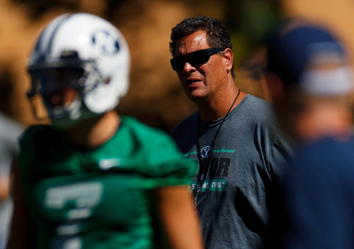 Trent Nelson  |  The Salt Lake Tribune Offensive coordinator Robert Anae at BYU football practice in Provo Saturday August 3, 2013.