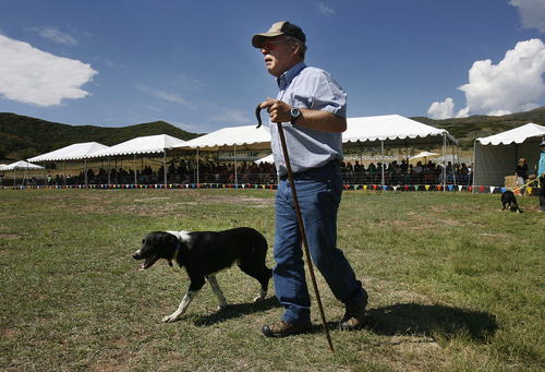 Scott Sommerdorf  |  The Salt Lake Tribune Tom Wilson and his dog Roy step forward to begin their turn in the  field at The Soldier Hollow Sheepdog Competition at Soldier Hollow, Saturday, August 31, 2013.