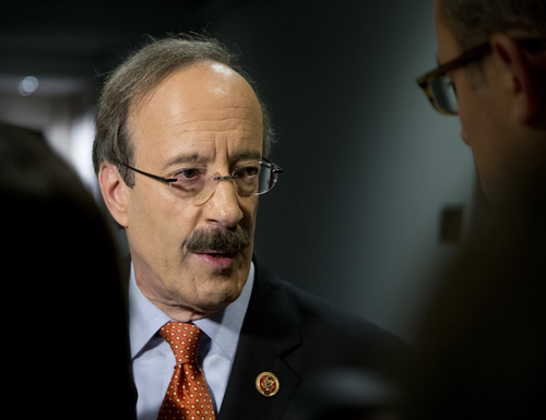 Rep. Eliot Engel, D-N.Y. talks with media before entering a closed members-only briefing on Syria on Capitol Hill, Sunday, Sept. 1, 2013, in Washington. Sunday the Obama administration confidently predicted congressional backing for limited action in Syria. Further classified meetings are scheduled over the next three days, says Secretary of State John Kerry. (AP Photo/Carolyn Kaster)