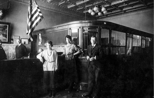 Employees of the Richfield, Utah bank circa 1920.