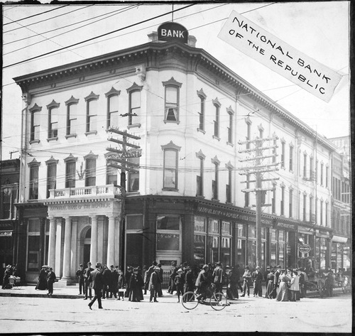 National Bank of the Republic in Salt Lake City, circa 1890.