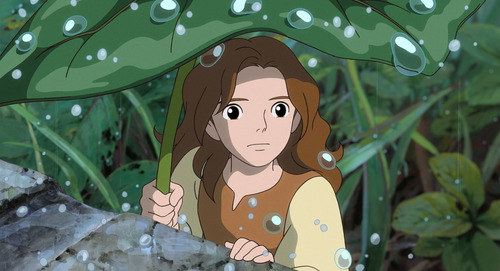 "Bravely venturing into the garden, tiny Arrietty (voice by Bridgit Mender) is excited to explore the big world just beyond her family's place of hiding, in Studio Ghibli's feature animated adventure, ""The Secret World of Arrietty,"" distributed by Walt Disney Studios Motion Pictures"