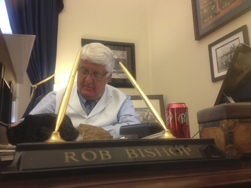 Thomas Burr | The Salt Lake Tribune Rep. Rob Bishop, R-Utah, works in his Washington office on a recent Wednesday, never too far from his Dr Pepper.