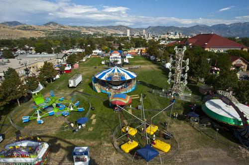 Chris Detrick  |  The Salt Lake Tribune An ariel view of the Utah State Fair as seen from the Thomas Carnival Century Wheel Thursday September 6, 2012.