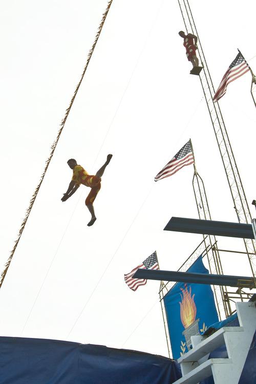 Chris Detrick  |  The Salt Lake Tribune High divers with Dana Kunze's Watershow Productions perform at the Utah State Fair Thursday September 6, 2012.