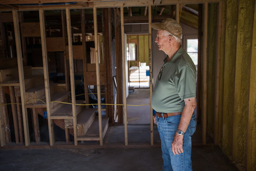 Trevor Christensen  |  Special to the Tribune  Co-founder of the Erin Kimball Memorial Foundation, Don Kimball, during a tour of Adelante Village, a women's shelter currently under construction by the Erin Kimball Memorial Foundation on Wednesday, August 21, 2013.