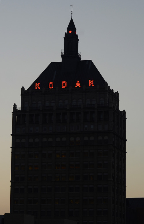 This Aug. 28, 2013 photo shows Kodak Headquarters in Rochester, N.Y. The restructured company's operations are split between a trio of businesses: packaging, graphic communications and functional printing. All three of the businesses are rooted in Kodak's commercial printing technology. (AP Photos/Heather Ainsworth)