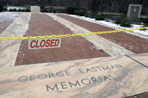 This Jan. 5, 2012 photo, shows the George Eastman Memorial, where Eastman's ashes rest in an urn beneath the central stone, is closed to the public. Eastman Kodak Co. said Tuesday, Jan 10, 2012, it has realigned and simplified its business structure in an effort to cut costs, create shareholder value and accelerate its long-drawn-out digital transformation. (AP Photo/David Duprey)
