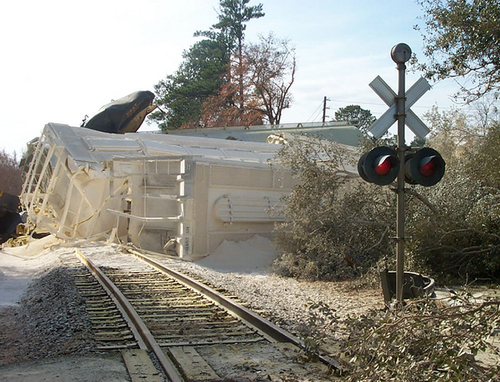 FILE - This Jan. 6, 2005 file photo,  released by the Environmental Protection Agency (EPA) shows a train derailment where toxic chlorine gas leaked, killing nine people, in Graniteville, S.C. Despite a rash of deadly train crashes, the railroad industry's allies in Congress are trying to push back the deadline for installing technology to prevent the most catastrophic types of collisions to at least 2020, half a century after accident investigators first called for such safety measures.  (AP Photo/Environmental Protection Agency, File)