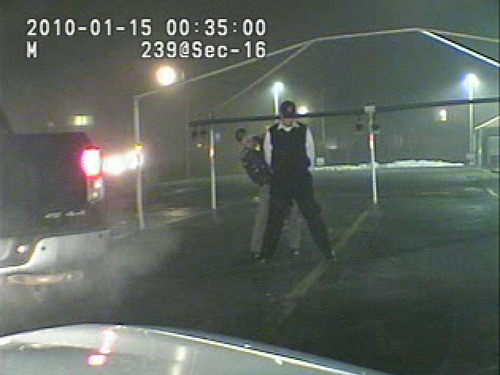 Sheldon Killpack is subjected to a field sobriety test during his January DUI arrest in this still from dash cam video released by the Department of Public Safety.