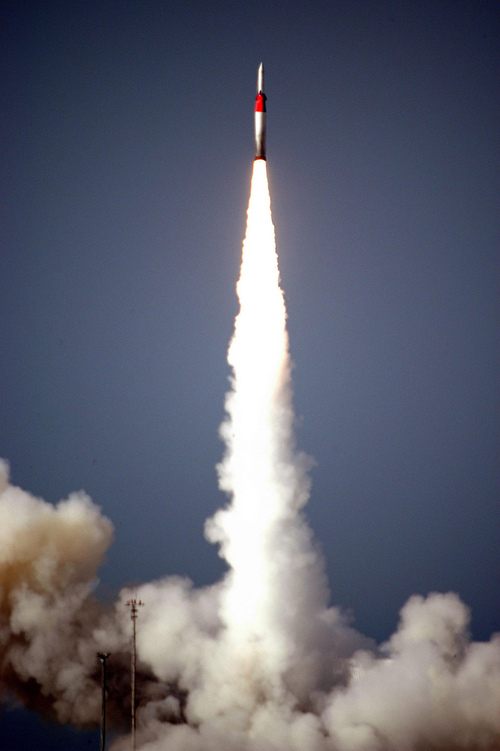 FILE -- This file photo, taken on Friday Dec. 2, 2005, released  by Israel Aircraft Industries Ltd., shows an Arrow missile being launched at an undisclosed location in Israel.  Israel and the U.S. conducted a joint missile test over the Mediterranean on Tuesday, Sept. 3, 2013, an apparent display of military prowess as the Obama administration seeks congressional support for strikes against the regime of Syrian President Bashar Assad. A Sparrow missile was launched successfully at 9:15 a.m. and followed its planned trajectory. The Arrow missile defense system successful detected and tracked the target, the ministry said. (AP Photo/Israel Aircraft Industries, File)  ** NO SALES **