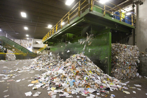 "Paul Fraughton  |   Salt Lake Tribune   Paper products are separated from other types of recyclables  at the Rocky Mountain Recycling facility. At the facility,  Salt Lake County Mayor, Ben McAdams announced a new recycling push, with the goal of doubling the county's recycling. Recycling trucks will display a ""wrap"" with the slogan, ""Start a New Cycle. Recycle.""  as well as a web address, ""recycle.slco.org"" where people can get information about recycling.                    Wednesday, September 4, 2013"