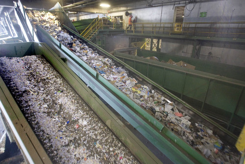 "Paul Fraughton  |   Salt Lake Tribune   Paper products move along conveyor belts at the Rocky Mountain Recycling facility on 900West and 3110South.  At the facility,  Salt Lake County Mayor, Ben McAdams announced a new recycling push, with the goal of doubling the county's recycling. Recycling trucks will display a ""wrap"" with the slogan, ""Start a New Cycle. Recycle.""  as well as a web address, ""recycle.slco.org"" where people can get information about recycling.                    Wednesday, September 4, 2013"