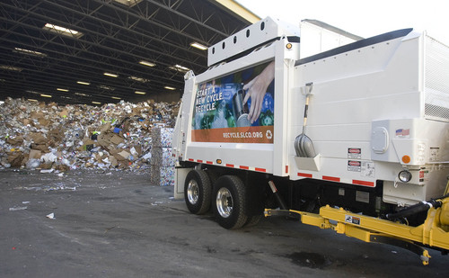"Paul Fraughton  |   Salt Lake Tribune A recycling truck stands outside the Rocky Mountain Recycling facility on 900West and 3100 South   At the facility,  Salt Lake County Mayor, Ben McAdams announced a new recycling push, with the goal of doubling the county's recycling. Recycling trucks will display a ""wrap"" with the slogan, ""Start a New Cycle. Recycle.""  as well as a web address, ""recycle.slco.org"" where people can get information about recycling.                    Wednesday, September 4, 2013"