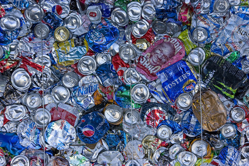 "Paul Fraughton  |   Salt Lake Tribune  A bale of crushed aluminum cans at Rocky Mountain Recycling. At the facility,  Salt Lake County Mayor, Ben McAdams announced a new recycling push, with the goal of doubling the county's recycling. Recycling trucks will display a ""wrap"" with the slogan, ""Start a New Cycle. Recycle.""  as well as a web address, ""recycle.slco.org"" where people can get information about recycling.                    Wednesday, September 4, 2013"