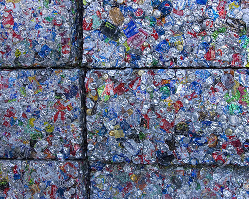 "Paul Fraughton  |   Salt Lake Tribune Bales of crushed aluminum cans at Rocky Mountain Recycling. At the facility,  Salt Lake County Mayor, Ben McAdams announced a new recycling push, with the goal of doubling the county's recycling. Recycling trucks will display a ""wrap"" with the slogan, ""Start a New Cycle. Recycle.""  as well as a web address, ""recycle.slco.org"" where people can get information about recycling.                    Wednesday, September 4, 2013"