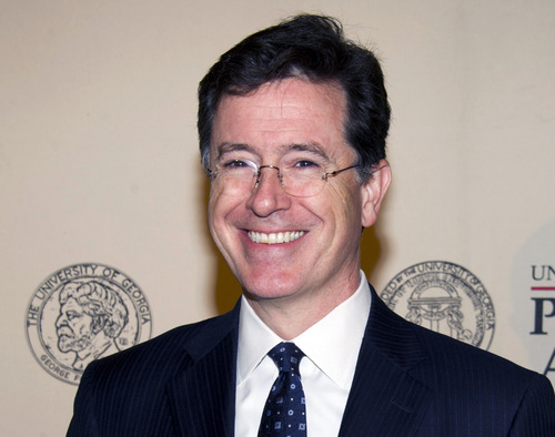 FILE - In this May 21, 2012 file photo, TV personality and author Stephen Colbert attends the 71st Annual Peabody Awards in New York. Stephen Colbert says he loves the Roman Catholic Church no matter its human flaws. This week, he interviewed New York's Cardinal Timothy Dolan on his show. (AP Photo/Charles Sykes, File)