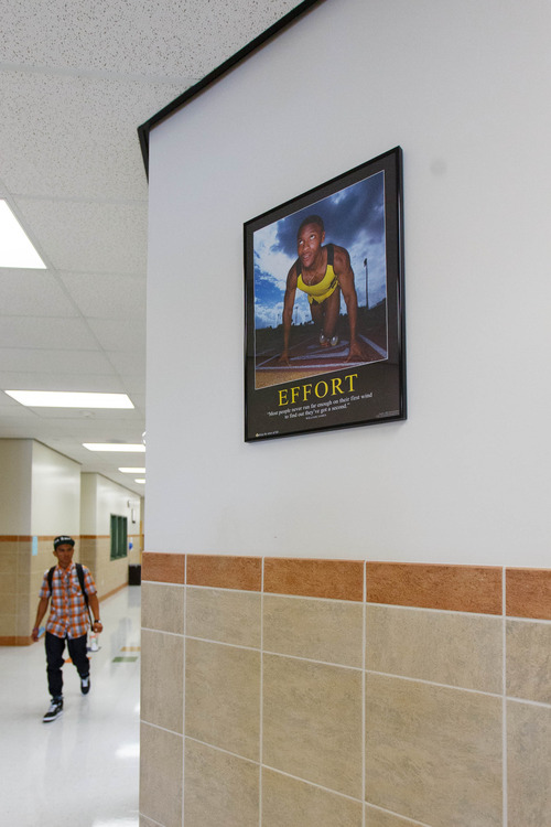 Trent Nelson  |  The Salt Lake Tribune A student in the hallways at Polaris High School, Friday, August 30, 2013 in Orem.
