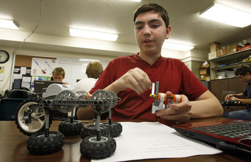 "Francisco Kjolseth  |  The Salt Lake Tribune Quinn Melville, 15, maneuvers his walking robot as part of a project in his Mechatronics class at the Utah Academy of Sciences. The Utah State Office of Education released the school grades and rankings mandated by the state legislature in which UCAS received an ""A"" grade earning 642 of 750 points, indicating the highest academic ranking in the state. UCAS is a public early college STEM (Science, Tech, Engineering & Math) charter school located on the UVU campus in Orem."